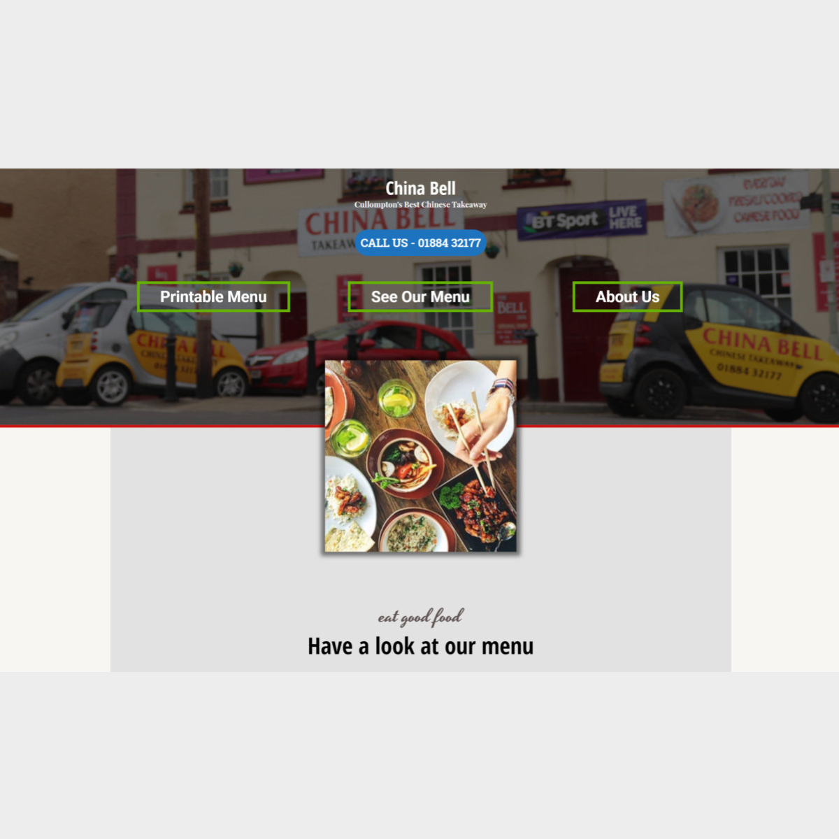 Single Page Website, Chinese takeaway