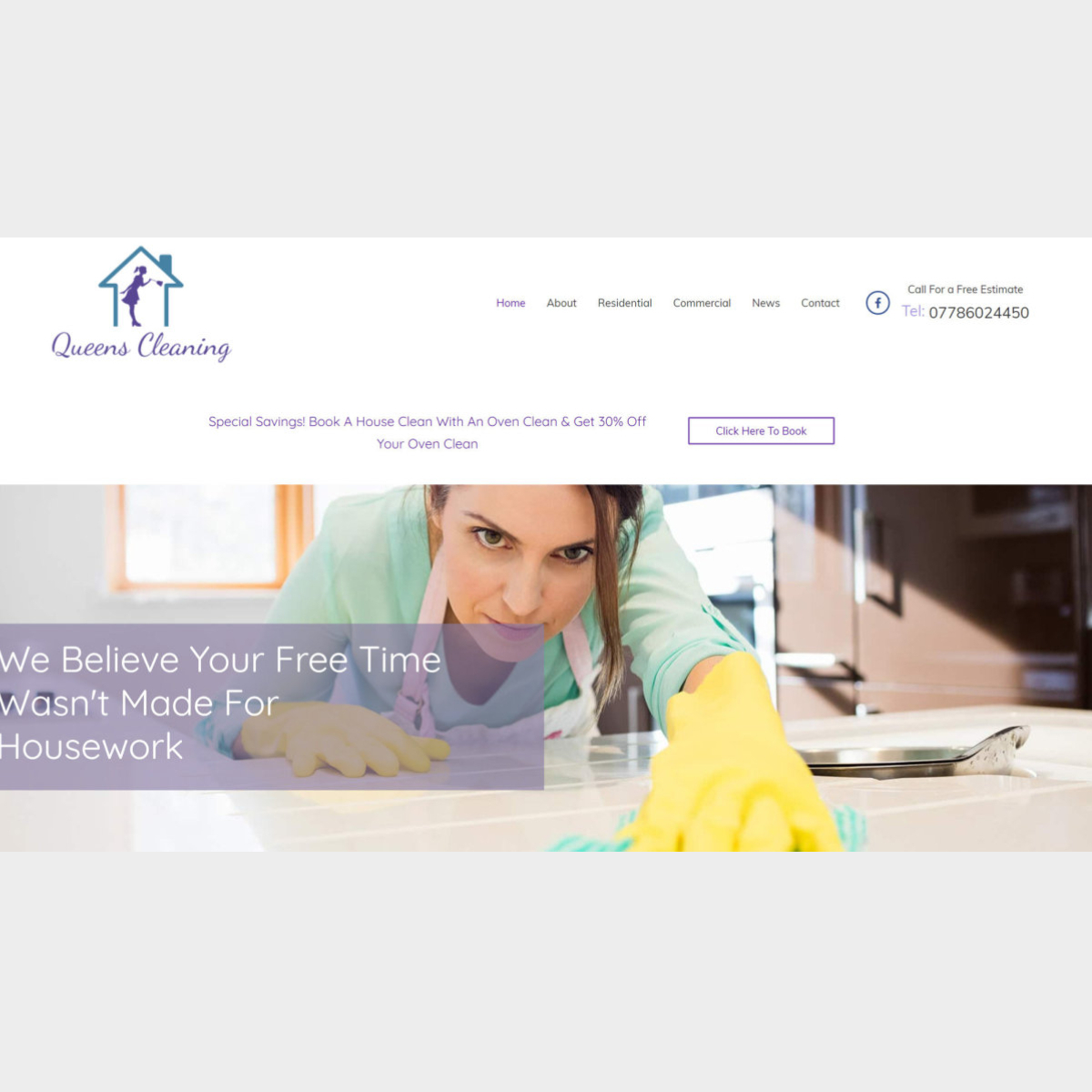 Homepage of Queen's Cleaning Services - Designed & developed by The Marketing Rocket - Taunton, Somerset
